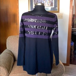 Black and purple embellished long sleeve sweater